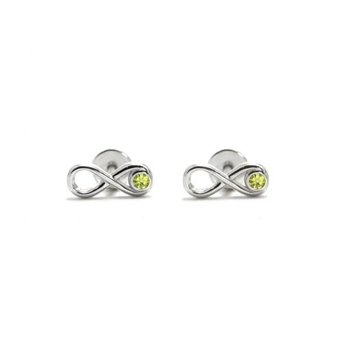 Infinity - Srebrne kolczyki z oliwinem