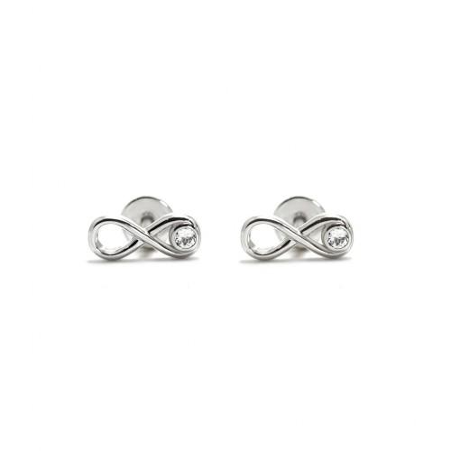 Infinity - Srebrne kolczyki z białym...