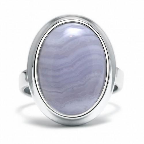 Stone - Pierścionek z agatem koronkowym