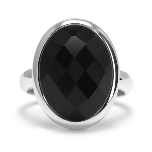 Stone - Pierścionek z czarnym onyksem