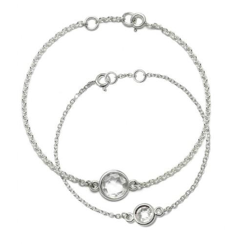 Aura - Zestaw srebrnych bransoletek z...