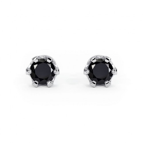 Royal - Srebrne kolczyki z czarnym...